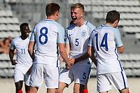 Harvey Barnes (No 8) celebrates scoring England's third goal with Captain, Joe Worrall during England Under-18 vs Scotland Under-20, Toulon Tournament Semi-Final Football at Stade Parsemain on 8th June 2017