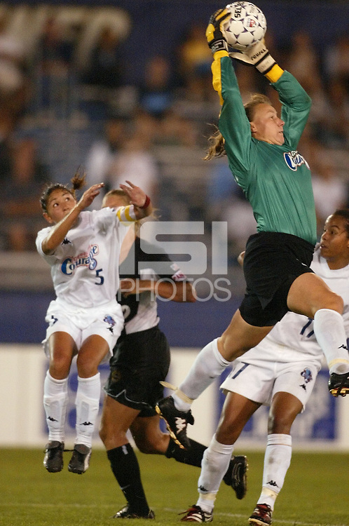 Goalkeeper Kristin Luckenbill of the Carolina Courage makes a save against the New York Power during the Courage's 3-2 victory on June 26th at Mitchel Athletic Complex.
