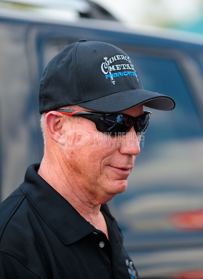 Mar 15, 2019; Gainesville, FL, USA; NHRA top fuel driver Pat Dakin during qualifying for the Gatornationals at Gainesville Raceway. Mandatory Credit: Mark J. Rebilas-USA TODAY Sports