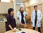 Randi Kaplan visits with medical staff at Montefiore Medical Center in the Bronx, New York on Monday, December 5, 2016.