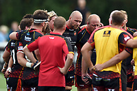 Rynard Landman of the Dragons looks on in a post-match huddle. Pre-season friendly match, between Ealing Trailfinders and the Dragons on August 11, 2018 at the Trailfinders Sports Ground in London, England. Photo by: Patrick Khachfe / Onside Images