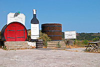 Domaine Bogoraze, Banyuls Collioure. Banyuls-sur-Mer. Roussillon. The wine shop and tasting room. Wooden fermentation and storage tanks. France. Europe.