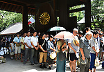 August 15, 2014, Tokyo, Japan - Scorching mid-summer heat notwithstanding, hundreds of thousands of Japanese including bereaved families of the war dead visit Tokyo's Yasukuni Shrine on Friday, August 15, 2014, as Japan observes the 69th anniversary of the nation's surrender in World War II.  (Photo by Katsumi Kasahara/AFLO) AYF -mis-