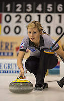 Glasgow. SCOTLAND.  Russian, Galina ARSENKINA during the &quot;Hack&quot;,  &quot;Round Robin&quot; Games. Le Gruy&egrave;re European Curling Championships. 2016 Venue, Braehead  Scotland<br /> Monday  21/11/2016<br /> <br /> [Mandatory Credit; Peter Spurrier/Intersport-images]