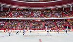 Stockholm 2014-05-03 Ishockey Oddset Hockey Games  Sverige - Finland :  <br /> Vy &ouml;ver hockeyrinken i Globen med publik p&aring; l&auml;ktarna under matchen <br /> (Foto: Kenta J&ouml;nsson) Nyckelord:  Oddset Hockey Games Sverige Swe Tre Kronor Finland Fin Globen Ericsson Globe Arena supporter fans publik supporters inomhus interi&ouml;r interior