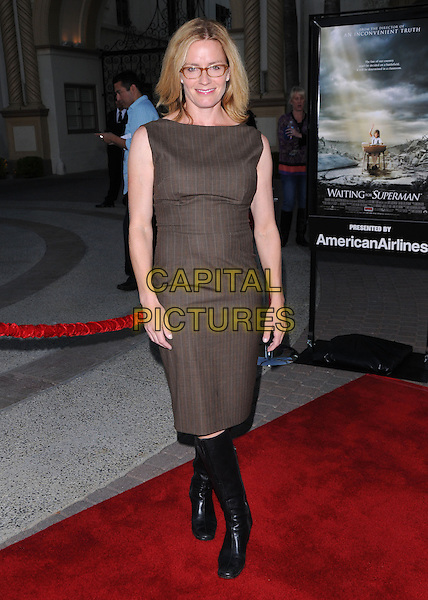 "ELISABETH SHUE.attends Paramount Pictures' L.A. Premiere of ""Waiting for Superman"" held at Paramount Theatre in Hollywood, California, USA, September 20th 2010..full length boots sleeveless shift dress black knee high brown glasses                                                              .CAP/RKE/DVS.©DVS/RockinExposures/Capital Pictures."