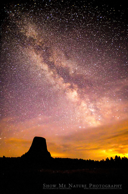 Milky Way and Perseid meteors over the Devil's Tower National Monument in northeast Wyoming