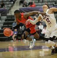 NWA Democrat-Gazette/ANDY SHUPE<br /> Davonte Davis (3) dribbles Friday, April 12, 2019, during play at Fayetteville High School.