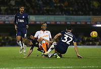 Blackpool's Nathan Delfouneso is challenged by Southend United's Stephen Hendrie<br /> <br /> Photographer Rob Newell/CameraSport<br /> <br /> The EFL Sky Bet League One - Southend United v Blackpool - Saturday 17th November 2018 - Roots Hall - Southend<br /> <br /> World Copyright &copy; 2018 CameraSport. All rights reserved. 43 Linden Ave. Countesthorpe. Leicester. England. LE8 5PG - Tel: +44 (0) 116 277 4147 - admin@camerasport.com - www.camerasport.com