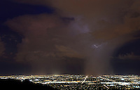 Aug. 20, 2012; Phoenix, AZ, USA: lightning storm monsoon rain Tempe Chandler city night  South Mountain Mandatory Credit: Mark J. Rebilas