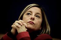 Roberta Lombardi , conferenza stampa su ricostruzione post terremoto