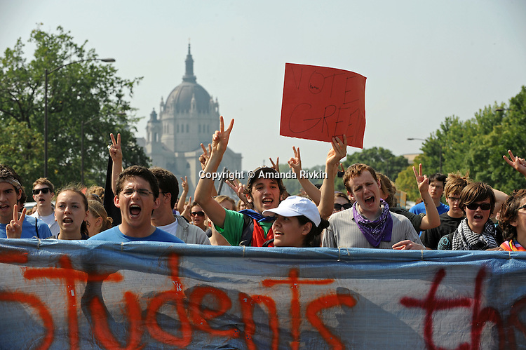 Demonstrators in front of the capitol building protest as the Republican National Convention kicks off its first day of muted activities due to Hurricane Gustav in Saint Paul, Minnesota on September 1, 2008.