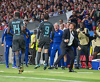Chelsea´s forward Alvaro Morata celebrating after scoring with Antonio Conte during the UEFA Champions League group C match between Atletico Madrid and Chelsea played at the Wanda Metropolitano Stadium in Madrid, on September 27th 2017.