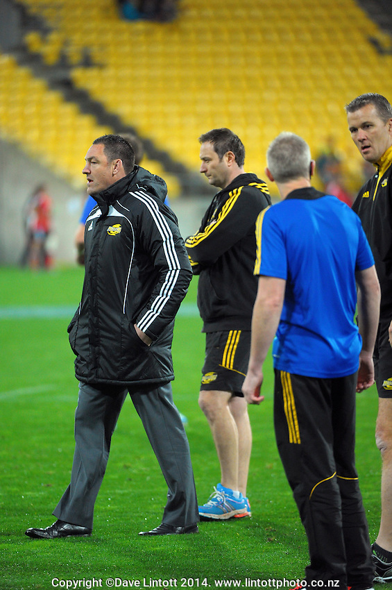 Hurricanes head coach Mark Hammett with assistants during the Super Rugby match between the Hurricanes and Crusaders at Westpac Stadium, Wellington, New Zealand on Saturday, 28 June 2014. Photo: Dave Lintott / lintottphoto.co.nz