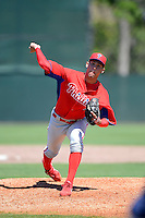 Philadelphia Phillies pitcher Jonathan Musser (49) during a minor league Spring Training game against the New York Yankees at Carpenter Complex on March 21, 2013 in Clearwater, Florida.  (Mike Janes/Four Seam Images)