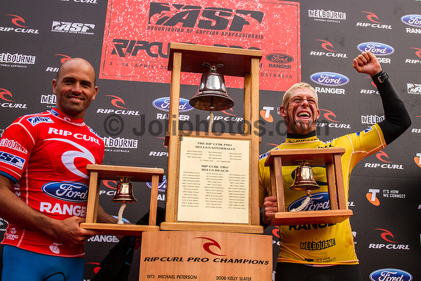 BELLS BEACH, Victoria/Australia (Friday, April 6, 2012) Mick Fanning(AUS) and Kelly Slater (USA) on the stage after the final.&ndash; The Rip Curl Pro Bells Beach - Dedicated to the memory of former three times winner Michael Peterson (AUS) wrapped up today with clean four-to-six foot (1.5 &ndash; 2 metre) waves steaming through Rincon and the Bells Bowl.<br /> Mick Fanning (AUS) defeated 11 times world champion Kelly Slater (USA) in the final to claim his second Bells Bell. Joel Parkinson (AUS) and Jeremy Flores (FRA) were + 3rd.<br />  <br /> The second stop on the 2012 ASP World Championship Tour, the Rip Curl Pro Bells Beach will took advantage of today&rsquo;s conditions,  crowning a men&rsquo;s champ by day&rsquo;s end.<br />  Photo: joliphotos.com
