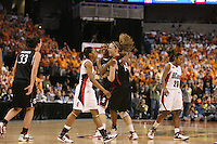 6 April 2008: Stanford Cardinal Jillian Harmon, Candice Wiggins, and Kayla Pedersen during Stanford's 82-73 win against the Connecticut Huskies in the 2008 NCAA Division I Women's Basketball Final Four semifinal game at the St. Pete Times Forum Arena in Tampa Bay, FL.