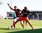 Leon Clarke of Sheffield Utd in action with Zander Diamond of Northampton during the English League One match at Sixfields Stadium Stadium, Northampton. Picture date: April 8th 2017. Pic credit should read: Simon Bellis/Sportimage