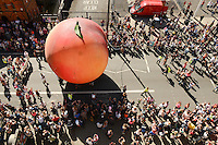 Pictured: Saturday 17 September 2016<br /> Re: Roald Dahl&rsquo;s City of the Unexpected has transformed Cardiff City Centre into a landmark celebration of Wales&rsquo; foremost storyteller, Roald Dahl, in the year which celebrates his centenary.<br /> The Giant Peach makes its way down Westgate Street.