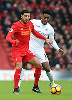 Emre Can of Liverpool is challenged by Leroy Fer of Swansea City during the Premier League match between Liverpool and Swansea City at Anfield, Liverpool, Merseyside, England, UK. Saturday 21 January 2017