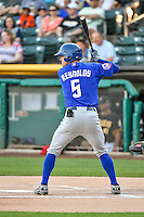 Matt Reynolds (5) of the Las Vegas 51s at bat against the Salt Lake Bees in Pacific Coast League action at Smith's Ballpark on June 25, 2015 in Salt Lake City, Utah.  Las Vegas defeated Salt Lake 20-8. (Stephen Smith/Four Seam Images)