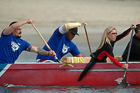 Saturday, 01/24/09.  Campland on the Bay, Mission Bay, San Diego, CA, USA. Greg Crouse (L), Wally Fanene (C) and Amy Bronn paddle an outrigger canoe during an event sponsored by the Challenged Athletes Foundation.  The participants had the opportunity had the opportunity to try several different paddle sports. to The Challenged Athletes Foundation established the Operation Rebound fund to provide sports opportunities and support for troops, veterans and first responders who have suffered permanent physical injuries in the line of duty.  Crouse and Bronn are both missing part of one of their legs and Fanene is missing part of one arm and one leg.