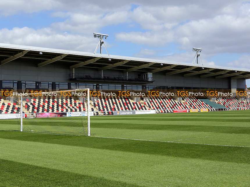 General view of the Bisley Stand at Newport County during Newport County vs MK Dons, EFL Cup Football at Rodney Parade on 9th August 2016