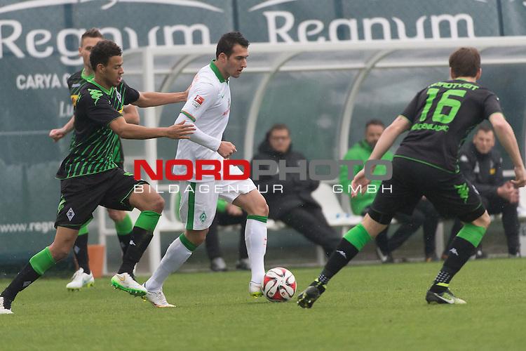 13.01.2015, Regnum Sport Center, Belek, TUR, 1.FBL, FSP Werder Bremen vs Borussia Moenchengladbach , im Bild<br /> Fabian Johnson  (Borussia M&ouml;nchengladbach)<br /> Levin &Ouml;ztunali / Levin Oeztunali (Bremen #11)<br /> Havard Nordtveit (Borussia M&ouml;nchengladbach)<br /> <br /> Foto &copy; nordphoto / Kokenge