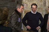 """Thurmont, MD - February 23, 2001 --  United States President George W. Bush, left, depart after holding a joint press conference with Prime Minister Tony Blair of Great Britain, right, following their """"get acquainted"""" talks at Camp David, near Thurmont, Maryland on February 23, 2001.  .Credit: Ron Sachs / CNP"""