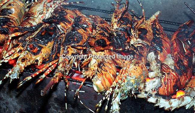 dicotanz00004 .Tanzania. Food. Lobsters on a barbeque..©Per-Anders Pettersson/iAfrika Photos