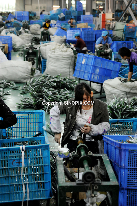 Christmas trees are made in Yiwu Festival Gifts Co Ltd in Yi Wu, China. The factory makes Christmas trees for UK retail giant B & Q. Yi Wu exports 40-50 % of the entire European Christmas decorations and 70 % of US and Mexico's Christmas gifts come from Yi Wu.