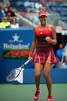 Ana Ivanovic of Serbian celebrates after winning a point against Dominika Cibulkova of Slovak during their match at the Arthur Ashe stadium during the US Open 2015 Tennis Tournament in New York. 08.31.2015.  Eduardo MunozAlvarez/VIEWpress.