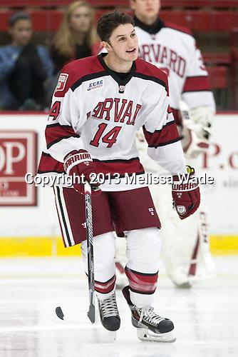 Alexander Kerfoot (Harvard - 14) - The Harvard University Crimson defeated the visiting Bentley University Falcons 3-0 on Saturday, October 26, 2013, in Harvard's season opener at Bright-Landry Hockey Center in Cambridge, Massachusetts.