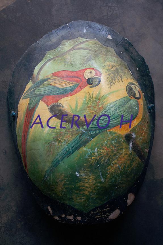 Pintada com araras, o casco  de tartaruga da Amaz&ocirc;nia era vendido como lembran&ccedil;a tur&iacute;stica na regi&atilde;o at&eacute; a d&eacute;cada de 1980.<br /> Foto Paulo Santos<br /> 2014