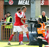 Fleetwood Town's Peter Clarke (right) celebrates with team-mate Wes Burns after scoring his side's second goal <br /> <br /> Photographer Rich Linley/CameraSport<br /> <br /> The EFL Sky Bet League One - Fleetwood Town v Oxford United - Saturday 7th September 2019 - Highbury Stadium - Fleetwood<br /> <br /> World Copyright © 2019 CameraSport. All rights reserved. 43 Linden Ave. Countesthorpe. Leicester. England. LE8 5PG - Tel: +44 (0) 116 277 4147 - admin@camerasport.com - www.camerasport.com
