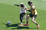 Getafe's Amath Ndiaye (l) and Jason Remeseiro during training session. June 5,2020.(ALTERPHOTOS/Acero)
