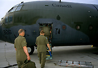 Canadian army soldier board an Hercula plane  , during the United Nation<br /> 1997 peace mission in Haiti.<br /> <br /> Les soldats de l'armÈe Canadienne durant la mission de paix de l'ONU en 1997 en Haiti.<br /> <br /> photo : (c)  Images Distribution