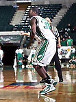 North Texas Mean Green forward Jacob Holmen (30) waits for a pass in the game between the Texas State Bobcats and the University of North Texas Mean Green at the North Texas Coliseum,the Super Pit, in Denton, Texas. UNT defeated Texas State 85 to 62