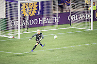 Orlando, Florida - Saturday, April 23, 2016: Orlando Pride goalkeeper Ashlyn Harris (1) takes a goal kick during an NWSL match between Orlando Pride and Houston Dash at the Orlando Citrus Bowl.