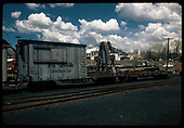D&amp;RGW derrick #OP and her boom car in Chama yard.<br /> D&amp;RGW  Chama, NM