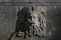 Water spout on the Charles V fountain or Pilar de Carlos V, representing 1 of the 3 rivers of Granada, designed by Pedro Machuca and sculpted by Niccolo da Corte in 1543, erected 1554 near the entrance gates of the Alhambra, Granada, Andalusia, Southern Spain. The Alhambra was begun in the 11th century as a castle, and in the 13th and 14th centuries served as the royal palace of the Nasrid sultans. The huge complex contains the Alcazaba, Nasrid palaces, gardens and Generalife. Granada was listed as a UNESCO World Heritage Site in 1984. Picture by Manuel Cohen