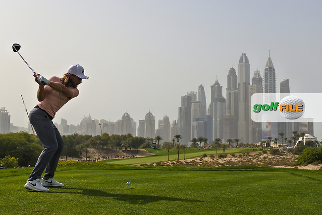 Tommy Fleetwood (ENG) on the 8th during Round 2 of the Omega Dubai Desert Classic, Emirates Golf Club, Dubai,  United Arab Emirates. 25/01/2019<br /> Picture: Golffile | Thos Caffrey<br /> <br /> <br /> All photo usage must carry mandatory copyright credit (&copy; Golffile | Thos Caffrey)