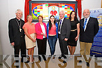 Bishop of Kerry Ray Browne,Principal Anne O'Callaghan Gemma,  Elma and Finbarr  Walsh, Mary J. Leen Artist, and Jay Galvin at the  unveiling of the Donal Walsh 'petition for living' memorial window by Bishop of Kerry Ray Browne at CBS 'The Green' on Tuesday