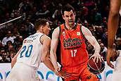 25th March 2018, Madrid, Spain; Endesa Basketball League, Real Madrid versus Valencia; Jaycee Carroll (Real Madrid Baloncesto) beaten by the speed of Rafa Martinez (Valencia Basket)