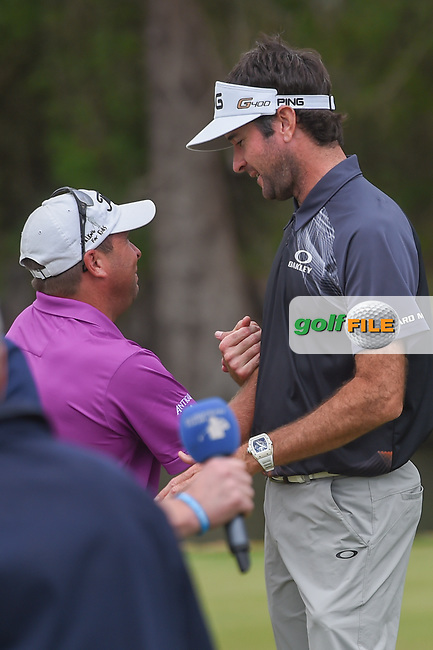 DJ, an avid golf fan and friend of Bubba Watson (USA) congratulates Bubba on the 12th green after winning the  World Golf Championships, Dell Match Play, Austin Country Club, Austin, Texas. 3/25/2018.<br /> Picture: Golffile | Ken Murray<br /> <br /> <br /> All photo usage must carry mandatory copyright credit (© Golffile | Ken Murray)