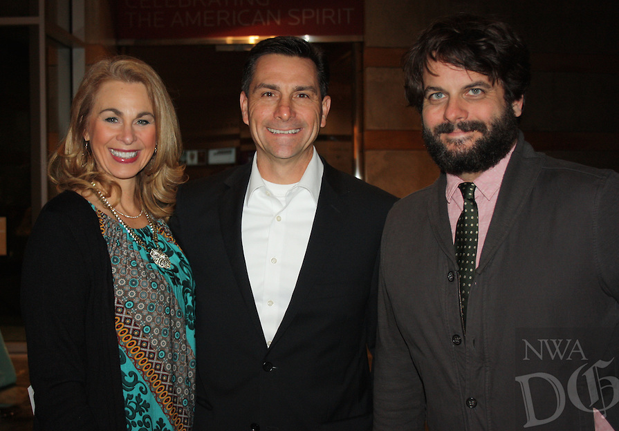 NWA Democrat-Gazette/CARIN SCHOPPMEYER Nancy and Paul Beahm (from left) and Case Dighero attend the Crystal Bridges original member reception.