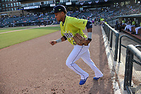 Right fielder Wagner Lagrange (23) of the Columbia Fireflies is introduced before a game against the Charleston RiverDogs on Saturday, April 6, 2019, at Segra Park in Columbia, South Carolina. Columbia won, 3-2. (Tom Priddy/Four Seam Images)