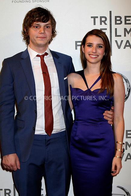 WWW.ACEPIXS.COM....April 18 2013, New York City....Emma Roberts and Evan Peters arriving at the screening of 'Adult World' during the 2013 Tribeca Film Festival at BMCC Tribeca PAC on April 18, 2013 in New York City.....By Line: Nancy Rivera/ACE Pictures......ACE Pictures, Inc...tel: 646 769 0430..Email: info@acepixs.com..www.acepixs.com