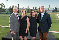 Rob Flot, Vice President for Student Affairs & Dean of Students, and Betty Collins P'07 and Mike Collins P'07, parents of Andy Collins '07 and Brooke Olzendam, widow of Andy Collins '07.<br /> Andy Collins '07 led the Tigers to a 27–0 SCIAC record during his three-year tenure as quarterback (2004–2006) and is regarded as the most dominant SCIAC football player in the modern era. Collins, who died in 2011, was the SCIAC's first three-time Offensive Player of the Year and the top quarterback in NCAA Division III as chosen by the American Football Coaches Association.<br /> The Occidental community celebrates its student-athletes with the induction of the sixth class into the Occidental College Athletics Hall of Fame during Homecoming and Family Weekend on Friday, Oct. 13, 2017 in Jack Kemp Stadium. The 2017 inductees are Stephen Haas '63 (track and field), the 1982 women's tennis team (NCAA national champions), Blair Slattery '94 (basketball and tennis), and the late Andy Collins '07 (football, track and field).<br /> (Photo by Marc Campos, Occidental College Photographer)