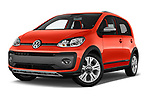 Stock pictures of low aggressive front three quarter view of a 2018 Volkswagen Up Cross Up 5 Door Hatchback
